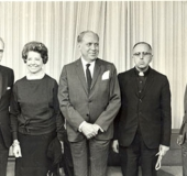 Campaña Electoral Caracas, 1963. Nicomedes Zuloaga, Margot Boulton de Bottome, Arturo Uslar Pietri, Padre Pernaud y Oscar Yanes