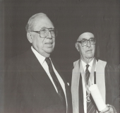 Arturo Uslar Pietri en el acto de conferimiento del Doctorado Honoris Causa a Pedro Grases, Caracas, 1989